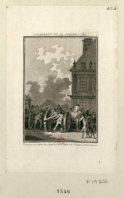 Evenement du 14 juillet 1789 transport des canons des Invalides, dont le peuple et les bourgeois s'étaient emparés : [estampe]