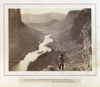 Indian Viewing R R From Top Of Palisades 435 Miles From Sacramento. # 340, Photograph