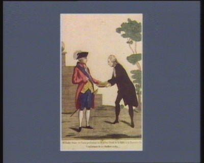 Mr Bailly maire de Paris présentant au Roi les clefs de la ville a la barrière de la Conférence le 17 juillet 1789 Sire, j'apporte à votre Majesté les clefs de sa bonne ville de Paris... : [estampe]