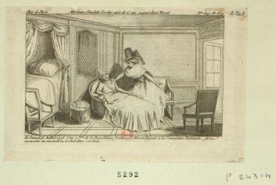 Marianne Charlotte Corday, agée de 25 ans, poignardant Marat le samedi 13 juillet 1793... : [estampe]