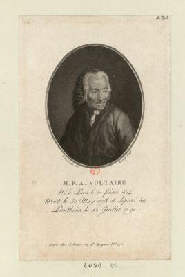 M.F.A. Voltaire né à Paris le 20 février 1694, mort le 30 may 1778 et déposé au Panthéon le 12 juillet 1791 : [estampe]