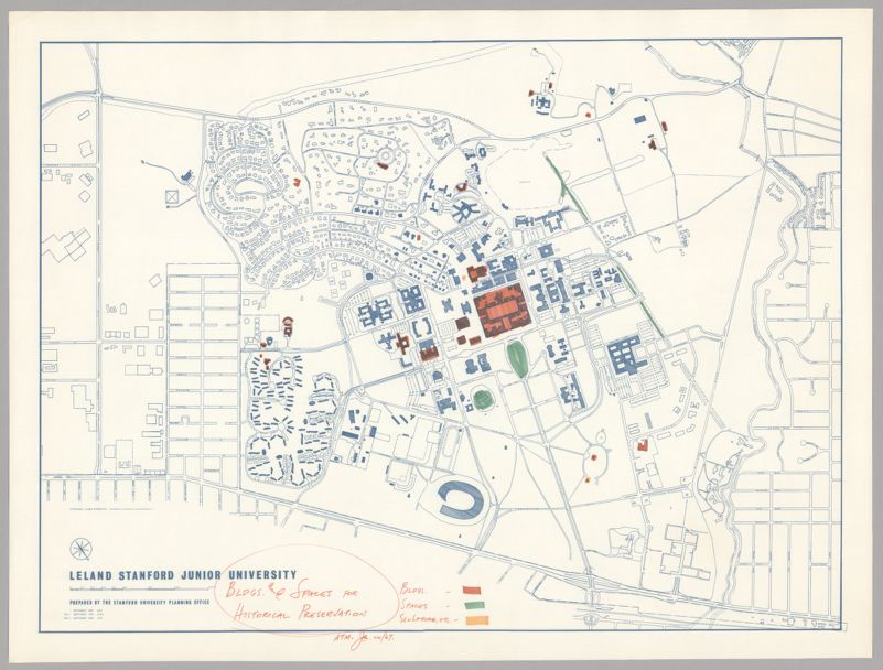 Map of Leland Stanford Junior University depicting buildings and spaces for historical preservation, 1967