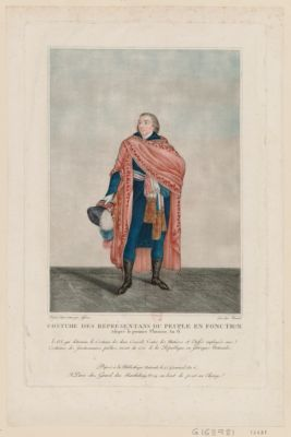 Costume des representans du peuple en fonction adopté le premier pluviose, an 6. Loi, qui détermine le costume des deux conseils... : [estampe]