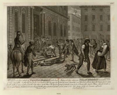 The  massacre at Lyons, ordered by Collot d'Herbois at the head of 100000 sans-culottes [estampe]
