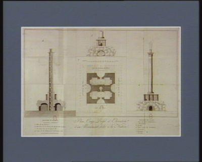 Plan, coupe, profil et élévation d'un monument dédié à la nation [estampe]