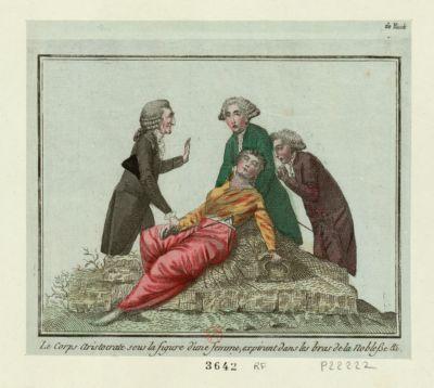 Le  Corps aristocrate sous la figure d'une femme, expirant dans les bras de la noblesse &c [estampe]