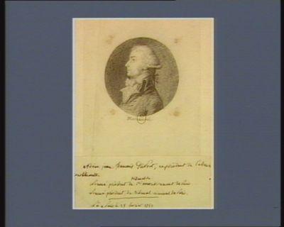 Adrien Jean François Dupont ex-président de l'Assemblée constituante nommé président du tribunal du 1.er arrondissement de <em>Paris</em>, nommé président du tribunal criminel de <em>Paris</em>, né à <em>Paris</em> le 25 février 1759 : [dessin]
