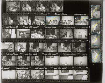 [At Sean Lennon's 9th birthday at the Dakota: Pat Hackett, Kenny Scharf, Keith Haring, Lisa Robinson, Louise Nevelson, John Cage, Merce Cunningham, Andy Warhol]