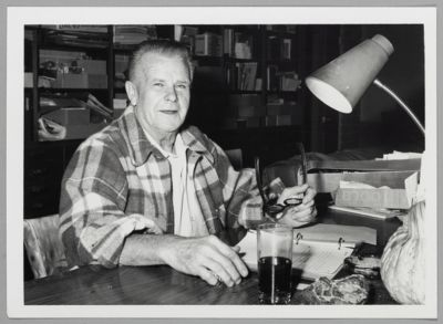 Lu Watters at his desk at his home, later in life