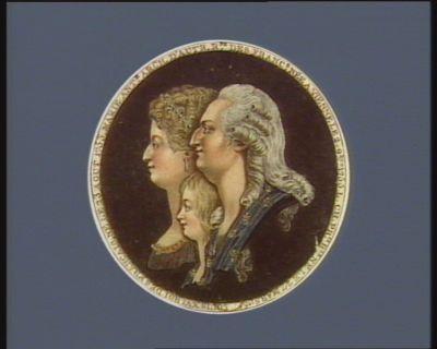 Louis XVI Roi des Français, né le 23 aout 1753 Marie Ant.e arch. d'Autr. R.ne des Franc.s née a Vienne le 2 9.bre 1755 ; L. Ch. pr.ce r.le ne le 27 mars 1785 : [estampe]