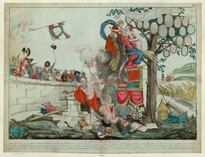 Le  Soleil au signe du Capricorne l'arbre de la Raison ou sont attachés les Droits de l'homme, la Liberté dans un nid prète a senvoler, mais elle est retenue par la France l'Angleterre et l'Amérique, qui foulent aux pieds l'ancien trône sur lequel est une épée et un masque... : [estampe]