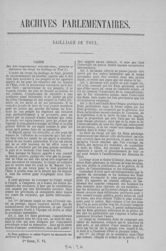 Tome 6 : 1789 – États généraux. Cahiers des sénéchaussées et baillages [Toul - Vitry-le-François] - page 1