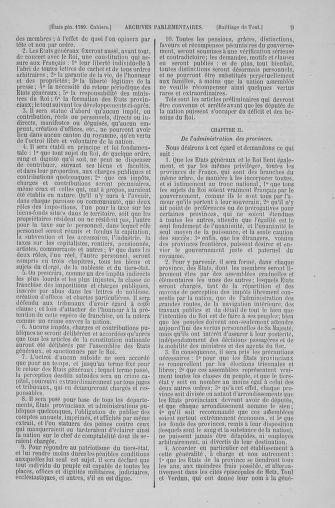 Tome 6 : 1789 – États généraux. Cahiers des sénéchaussées et baillages [Toul - Vitry-le-François] - page 9