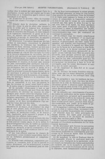 Tome 6 : 1789 – États généraux. Cahiers des sénéchaussées et baillages [Toul - Vitry-le-François] - page 37