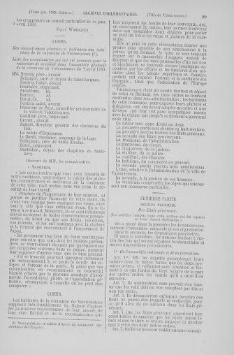 Tome 6 : 1789 – États généraux. Cahiers des sénéchaussées et baillages [Toul - Vitry-le-François] - page 99