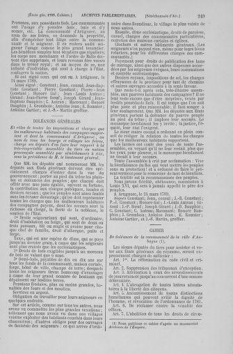 Tome 6 : 1789 – États généraux. Cahiers des sénéchaussées et baillages [Toul - Vitry-le-François] - page 249