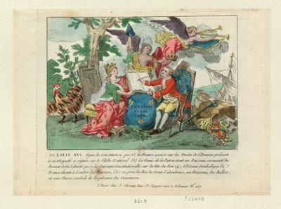 Louis XVI signe la Constitution que la France assise sur les Droits de l'homme présente à Sa Majesté [estampe]