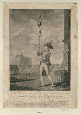 Projet de l'étendart de la liberté, à l'imitation de celui des Romains cet étendart est proposé à remplacer l'oriflamme, il seroit exécuté en relief et en cuivre battu doré... : [estampe]