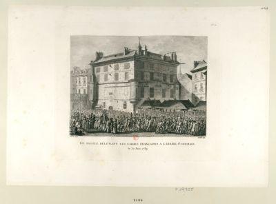 Le  Peuple délivrant les gardes françaises à l'abbaye St Germain le 30 juin <em>1789</em> : [estampe]