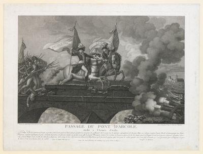 Passage du pont d'Arcole dédié <em>à</em> l'armée d'Italie. Le village d'Arcole, extrêmement fort par sa position arrêta l'avant-garde de l'armée française... : [estampe]