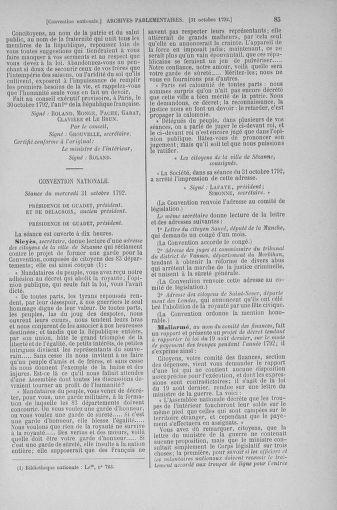 Tome 53 : Du 27 octobre au 30 novembre 1792 - page 85