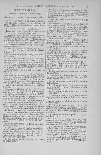 Tome 53 : Du 27 octobre au 30 novembre 1792 - page 319