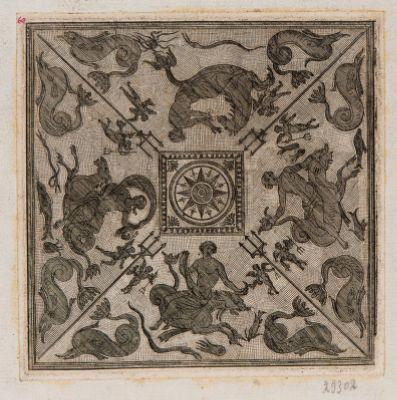 Porta Capena, pavimento mosaico: Anfitride e Nereide