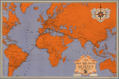 Air World Map By American Airlines Inc Copyright By - Airline flights map of france to us