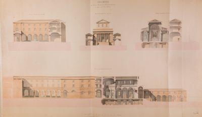 Palatino, progetto di ampliamento del Monastero della Visitazione (Villa Mills). Sezione dei nuovi corpi di fabbrica e prospetto