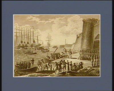 Evacuation de la Hollande, le 27 vendemiaire an 8, par les Anglo-Russes en vertu de la <em>convention</em> d'Alcmaër dictée par le général Brune, et acceptée par le général major Knox, muni des pouvoirs de son Alt.se r.le le duc d'York : [estampe]