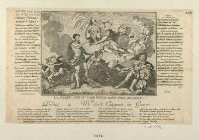 La  Vertu, tôt ou tard rentre dans tous ses droits Chanson <em>a</em> la gloire de Mr Necker ou le Mentor français, sur l'air d'Aspasie... : dedié <em>à</em> Mrs S. et T., citoyens de Genève : [estampe]