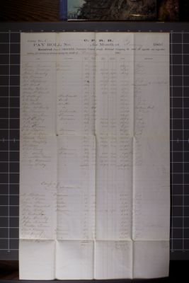 C.P.R.R. pay roll no. 102 for the month of February 1866, Camp No.6+7