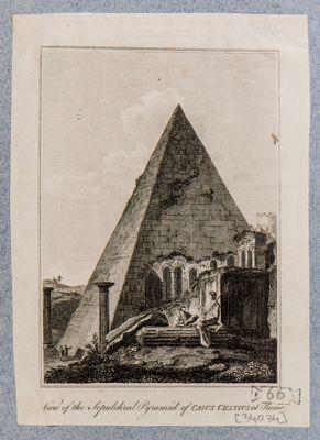 Piramide di Caio Cestio, veduta generale di scorcio delle mura