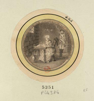 Marie Anne Charlotte Corday ci devant Darmans age de 25 ans moins 3 mois - ecrivant sa derniere lettre a son pere [estampe]