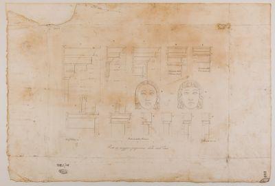 Profili di cornici e maschere (Teatro Valle?)