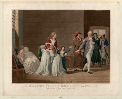 La  Séparation de <em>Louis</em> seize, d'avec sa famille, dans la tour du Temple [estampe]