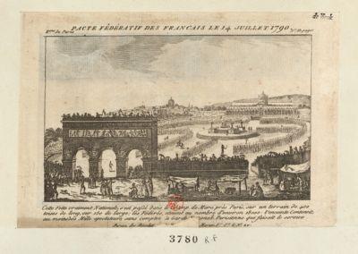 Pacte fédératif des Français le 14 juillet 1790 cette fette vraiment nationale, s'est passé dans le <em>Champ</em> <em>de</em> <em>Mars</em> près Paris, sur un terrain <em>de</em> 400 toises <em>de</em> long, sur 150 <em>de</em> large, les fédérés etoient au nombre d'environ 18 000 : l'enceinte contenoit au moins 300 mille spectateurs sans compter la Garde nationale qui faisait le service : [estampe]
