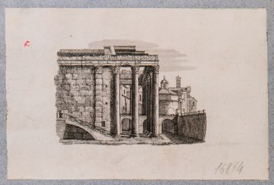 Tempio di Antonino e Faustina, fiancata verso ponente