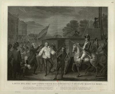 Louis XVI avec son confesseur Edgeworth, un instant avant sa mort le 21 janvier 1793 [estampe]