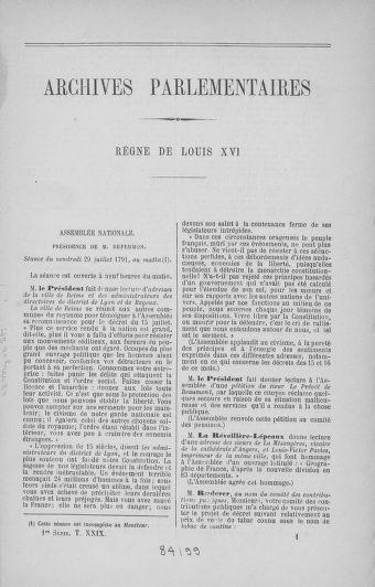 Tome 29 : Du 29 juillet au 27 août 1791 - page ..