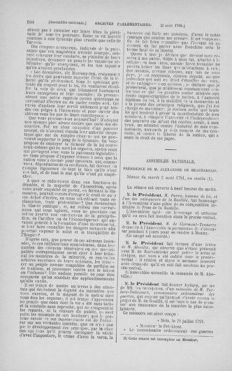 Tome 29 : Du 29 juillet au 27 août 1791 - page 104