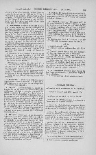 Tome 29 : Du 29 juillet au 27 août 1791 - page 303