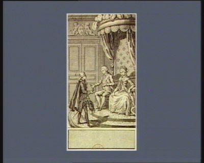 [Après que M. <em>de</em> Liancourt ait raconté à Louis seize <em>et</em> à <em>Marie</em> <em>Antoinette</em> <em>le</em> malheur arrivé au boulanger François, <em>le</em> Roi lui remet une bourse destinée à sa veuve] [estampe]