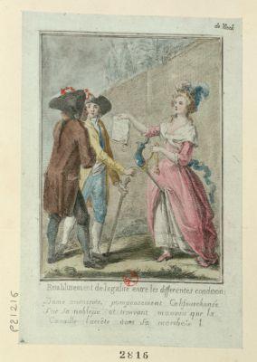 Dame aristocrate califourchonée sur sa noblesse et trouvant mauvais que la canaille l'arrête dans sa marche [estampe]