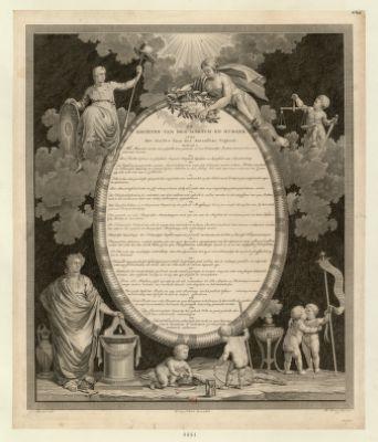 De Rechten van den mensch en burger 1795, het eerste jaar der batafsche Vrijheid : [estampe]