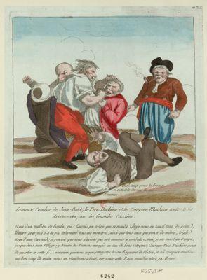 Fameux combat de Jean Bart, le père Duchêne et le compère Mathieu contre trois aristocrates ; ou les gueules cassées [estampe]