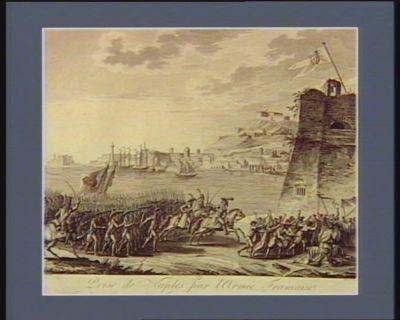 Prise de Naples par l'armée française <em>le</em> 3 nivose an 7 (24 decembre 1798) l'armée française commandée par <em>le</em> général Championnet entre dans Naples, malgré plusieurs confrairies qui leur opposent <em>le</em> chef et <em>le</em> sang de St Janvier, portés sur <em>les</em> epaules des plus fervens : tandis que <em>le</em> général Mack et ses soldats se hâtent de sortir <em>du</em> chateau St Elme : [estampe]
