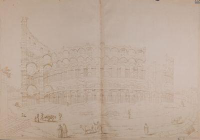 Colosseo, esterno. Lato ove fu costruito lo sperone