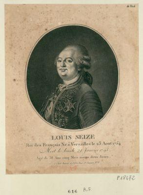 Louis seize roi des français mort le lundi 21 janvier 1793 agé de 38 ans cinq mois moins deux jours : [estampe]
