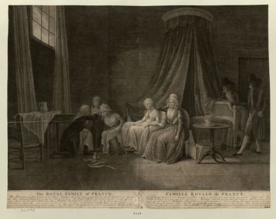 The  Royal Family of France This Print represents the Situation of the Royal Family on the 24.th of January <em>1793</em>, three days after the Execution of Lewis the <em>XVI</em>... : [estampe]